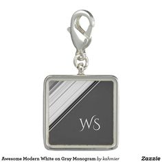 Awesome Modern White on Gray Monogram Charm