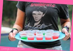 Totally Awesome 80's Neon Birthday Party Ideas and jello shots recipe. LivingLocurto.com #drinks