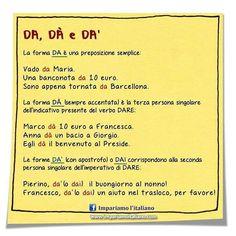 DA, DÀ e DA' Seguite @ilearnitalian . #learningitalian #learnitalian #imparareitaliano #aprenderitaliano #studyitalian #italianlanguage #italianlessons #italianteacher #languages #languagelearning #grammartips