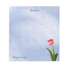 One Pink Tulip Floral Photography Geometric Grid Notepad - floral style flower flowers stylish diy personalize