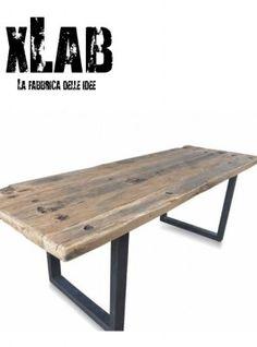 Tavolo in ferro e legno stile industrial design XLAB | Progetti da ...