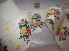 1 yd. of Gorgeous french ribbon trim with roses by TextileArtLace