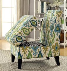 Storage chair with compartment for pillows and blanket throws Storage Chair, Boat Storage, Storage Ideas, Traditional Chairs, Modern Traditional, Chesterfield, Ottoman, Narrow Boat, Amazing Paintings