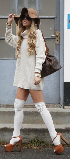 Floppy hat | White Over The Knee Socks | oversize sweater dress | Louis Vutton bag | See more about Knee Socks, Sweater Dresses and Sweaters.