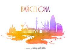 Barcelona edificio silueta de la acuarela