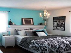 Blacku, white, and Tiffany blue bedroom. Yes, please. | Decor ...