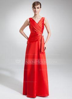 Evening Dresses - $112.99 - A-Line/Princess V-neck Floor-Length Charmeuse Evening Dress With Ruffle Crystal Brooch (017002579) http://jenjenhouse.com/A-Line-Princess-V-Neck-Floor-Length-Charmeuse-Evening-Dress-With-Ruffle-Crystal-Brooch-017002579-g2579?ver=1