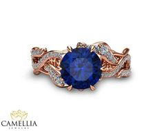 Rose Gold Natural Sapphire Engagement Ring Blue by CamelliaJewelry