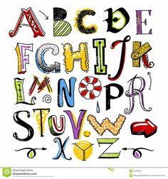 Illustration about Hand- drawn doodle color alphabet for your design. Illustration of design, illustration, coma - 49182977 Hand Lettering Alphabet, Doodle Lettering, Graffiti Alphabet, Creative Lettering, Animal Alphabet, Graffiti Lettering, Lettering Design, Journal Fonts, Bullet Journal Notes