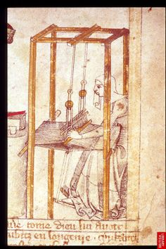 Naamah working at her loom, Egerton Genesis Picture Book (British Library, Egerton 1894, fol. 2v), c. 1360