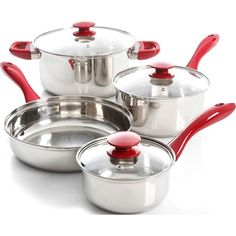 Oster - Crawford 7-Piece Cookware Set - Stainless steel/Red (Silver/Red)