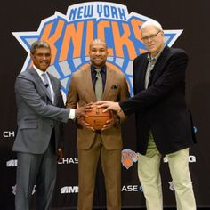 GM Steve Mills and President Phil Jackson with the 26th head coach of the New York #Knicks, Derek Fisher.