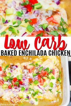 Try this easy low carb recipe, Baked Enchilada Chicken. Enjoy all the flavor of chicken enchilada bake without the carbs. Try baked enchilada chicken today! Ketogenic Recipes, Low Carb Recipes, Diet Recipes, Chicken Recipes, Cooking Recipes, Healthy Recipes, Skinny Recipes, Chicken Eating, Chicken Enchiladas