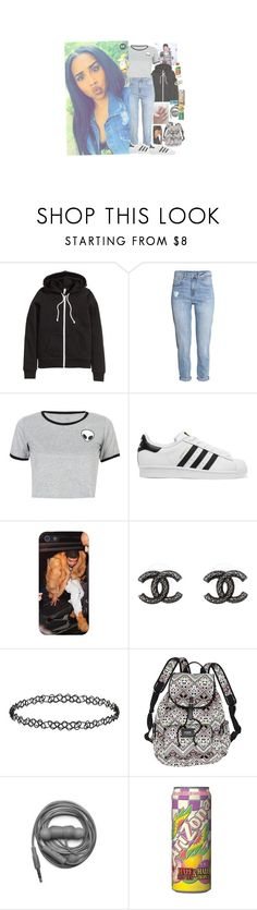 """""""Going to school like✨"""" by trilliestbitch ❤ liked on Polyvore featuring H&M, WithChic, adidas Originals, Chanel, Dorothy Perkins, Victoria's Secret and Urbanears"""