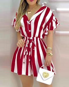 Casual Dresses, Fashion Dresses, Short Sleeve Dresses, Dresses For Work, Dresses With Sleeves, Striped Shirt Dress, Ruffle Shirt, Camisa Formal, Trend Fashion
