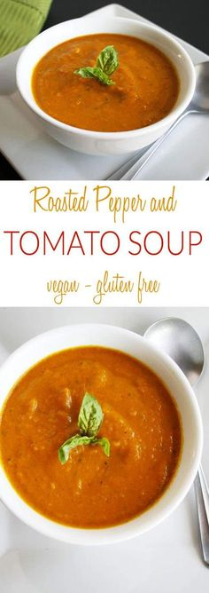 Roasted Pepper and Tomato Soup (vegan, gluten free) - This creamy savory soup is an easy weeknight meal. It is rich and satisfying!