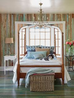 Love the wall treatment | Recycled wood on wall | Country Living Bedroom