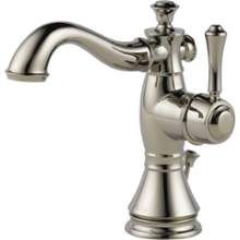 The Delta Cassidy Single Hole High Arc Bathroom Faucet in Polished Nickel includes metal pop-up drain assembly. It comes with metal lever handles to provide precise temperature control. It is ADA compliant and water sense certified. Brass Faucet, Lavatory Faucet, Bathroom Sink Faucets, Bathroom Fixtures, Plumbing Fixtures, Kitchen Faucets, Mosaic Bathroom, Kitchen Fixtures, Bronze Faucets