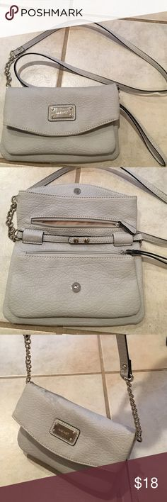 Small Crossbody Bag Light Gray Pleather Nine West purse with 3 zip enclosure. Removable strap converts to Clutch. Nine West Bags Crossbody Bags