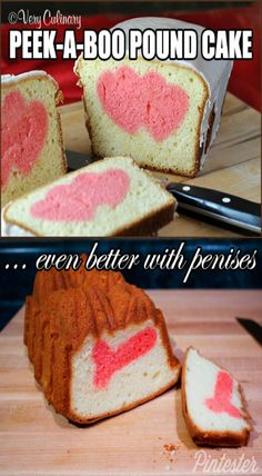 Pintester's romantic spirit shines through in this pound cake with a sweet surprise in the middle: a delicate pink penis. Hen Party Cakes, Inside Cake, Cupcake Frosting, Food Humor, Peek A Boos, Pound Cake, Happy Valentines Day, Holiday Recipes, Cake Decorating