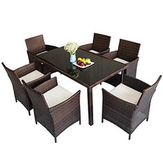 Merax Outdoor Wicker Dining set - Dining table set for 6 - Patio Rattan Furniture Set with Beige Cushion (Brown) *** Nice of your presence to have dropped by to visit the photo. (This is our affiliate link) Wicker Dining Set, Patio Dining Chairs, Outdoor Dining Set, Table And Chairs, Outdoor Decor, Outdoor Living, Dining Table, Rattan Furniture Set, Garden Furniture Sets