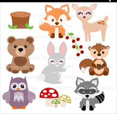 Baby Woodland Animal Cut Files, Forest Animal SVG Files, Baby Deer, Cute Fox SVG, SVGs for Cricut & Silhouette by CatchingColorFlies #embroidery