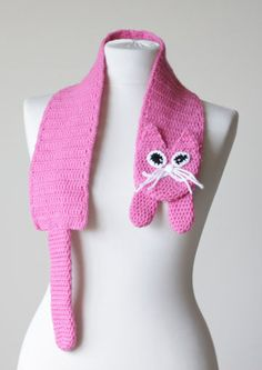 Kitty Scarf in pink, Cute cat pink scarf for girls, Crochet Scarf, neck warmer, handmade