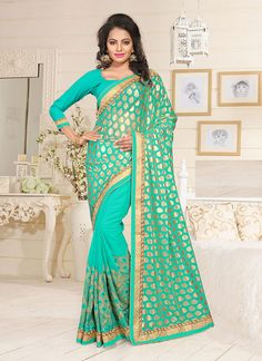 #Green #Lycra,#Georgette #Designer #Saree #nikvik  #usa #designer #australia #canada #freeshipping #silksaree #sari
