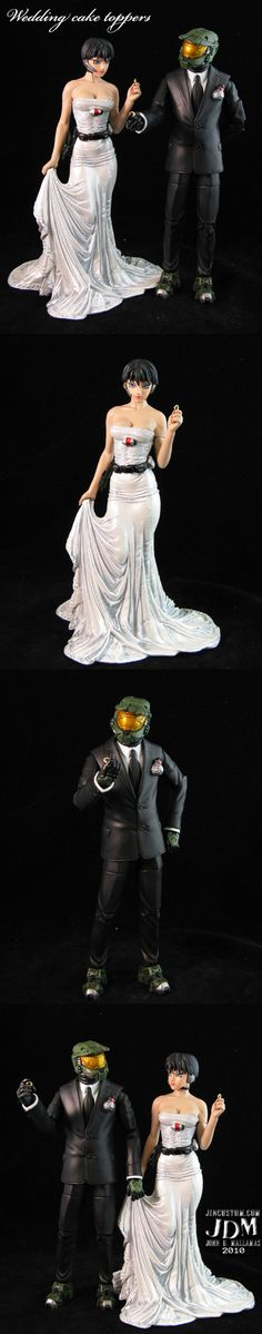 Master Chief and Cortana Wedding Cake Toppers - So Awesome! I love the little grenade on his lapel :)