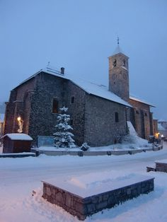 Adorable church in the snow @Valloire Galibier