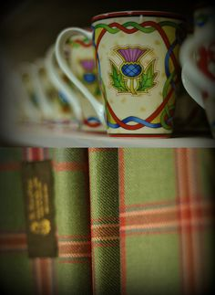 "Thistle cups and tartan in muted colours for the ""Lady"" of a Glen in Scotland."