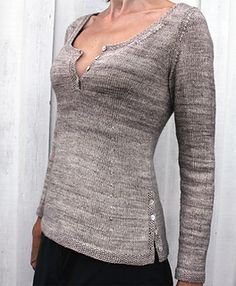Hence by Olga Wedbjer Rambell  Hence is a buttoned sweater with long sleeves, moss stitch edges, and a vent at left side. It features a subtle a-line and a higher waist, creating a flattering shape.