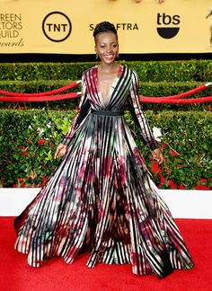 Lupita Nyong'o Sag awards red carpet-- GORGEOUS Elie Saab dress