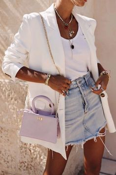 15 Tank Top Outfits You Will Want To Wear All Summer White blazer over white tank top and denim skirt Tank Top Outfits, Denim Skirt Outfits, Denim Skirt Outfit Summer, Summer Blazer, Mode Outfits, Trendy Outfits, Fashion Outfits, Fashion Ideas, Skirt Fashion
