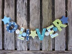 """OLIVER"" WOODEN LETTERS LETTER DOOR NAME DECORATION PERSONALISED SHABBY CHIC"