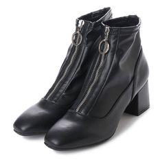 セシルマクビー CECIL McBEE フロントファスナーショートブーツ (ブラック) -靴&ファッション通販 ロコンド〜自宅で試着、気軽に返品
