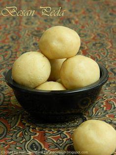 Indian Cuisine: Besan Peda Recipe   Milk and Chickpea Flour Fudge
