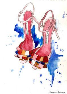 Manolo Blahnik fashion illustration