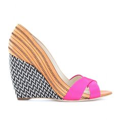 Rupert Sanderson Kibo Leather Peep-Toe Wedges... so pattern mixing it's delightful!