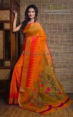 Pure Handloom Linen Silk Saree in Bright Yellow.