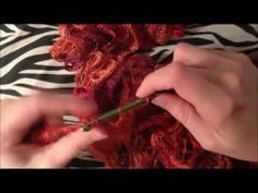 ▶ How To Crochet A Ruffle Scarf Using Sashay Yarn Tutorial!
