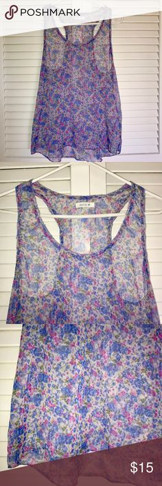 Aerie Chiffon Floral Top Aerie Top. Blue and pink floral. Chiffon material. Size Medium. Great condition aerie Tops