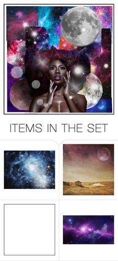 """moon art"" by thecyberbat on Polyvore featuring kunst, moon en art"