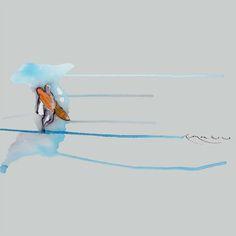 Surfer - Diseño de Ricardo Montoro Skiers, Sports Art, Watercolor Art, Logos, T Shirts, Watercolor Painting, Logo, Watercolour
