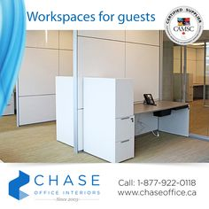 Create a clean, functional workspace for your guests when they visit! Chase can provide you with all the wall systems and office furnishings you require! If you'd like to speak with an A&D Consultant in your area, please call: 1-877-922-0118.