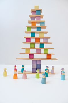In beautiful pastel colours, a brilliant set on its own & sized to work in conjunction with the other large wooden building sets by Grimm's. Toddler Toys, Kids Toys, Games For Kids, Activities For Kids, Grimm's Toys, Grimms Rainbow, Wooden Rainbow, Handmade Wooden Toys, Eco Friendly Toys