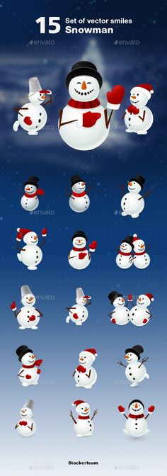 Snowman by Stockerteam - ?eautiful snowmen set perfectly fits your website, app, post card andemail. Set contains 15 awesome vector graphics. - Files are