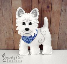 Dog Sewing Pattern PDF - West Highland Terrier Stuffed Animal Felt Plushie - Winston The Westie - Instant Download (5.00 USD) by SquishyCuteDesigns