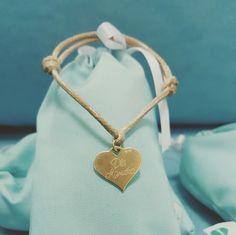 Pointy Heart charms pendant strong bracelet with engraving gift. Serduszko pozłacane z grawerem by ilo na szafranowym sznureczku