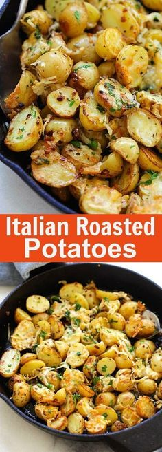 Italian Roasted Potatoes – buttery, cheesy oven-roasted potatoes with Italian seasoning, garlic, paprika and Parmesan cheese. So delicious | http://rasamalaysia.com